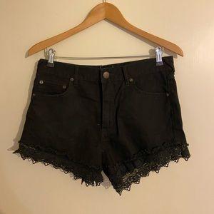 Free people black lace Jean shorts